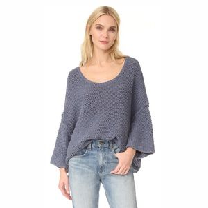 NWT Free People Cable Knit Slate Blue Sweater